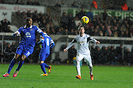 Pablo Hernandez ® of Swansea city. Barclays Premier league, Swansea city v Everton at the Liberty Stadium in Swansea,  South Wales on Sunday 22nd Dec 2013. pic by Andrew Orchard, Andrew Orchard sports photography.