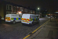 © Licensed to London News Pictures. 19/01/2020. London, UK. Police forensic vehicles at the crime scene as an investigation is launched into the deaths of three men in Redbridge, all of whom had suffered apparent stab injuries. Photo credit: Peter Manning/LNP
