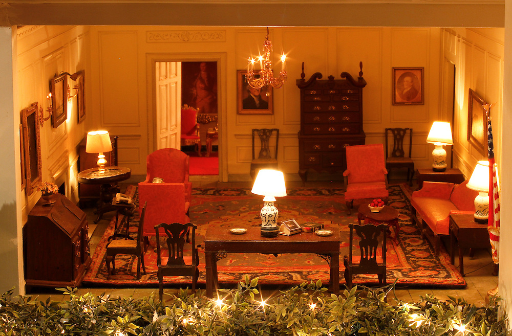 A scale model of the real White House is on display at the Reagan Library in Simi Valley, California. This is the Map Room