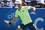 KEVIN ANDERSON strikes a forehand during his semifinal match at the Citi Open at the Rock Creek Park Tennis Center in Washington, D.C.