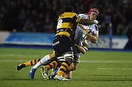 Sam Twomey of Harlequins is hauled down by Manoa Vosawai of the Cardiff Blues. European Rugby challenge cup match, Cardiff Blues v Harlequins at the BT Sport Cardiff Arms Park in Cardiff, South Wales onThursday 19th November 2015. pic by Andrew Orchard, Andrew Orchard sports photography.