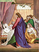 Christ raising the daughter of Jairus, governor of the Synagogue, from the dead. 'Bible' Mark 5. Mid-19th century chromolithograph