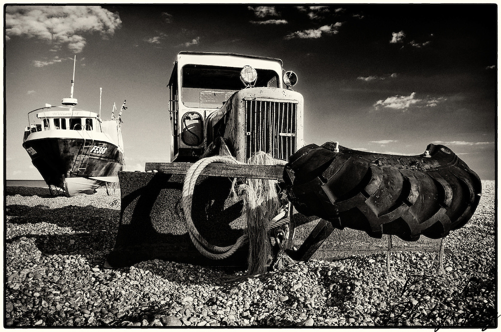 Boat and tractor on the beach at Dungeness