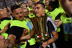 Celebrations after Juventus win over Lazio at the Italian Football Cup Final at Stadio Olimpico in Rome. 17 May 2017 Pictured: Paulo Dybala. Photo credit: Insidefoto / MEGA TheMegaAgency.com +1 888 505 6342