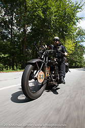 """Andreas """"Andy"""" Kaindl of Southern Germany riding his 1924 Henderson Deluxe during"""