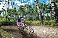 Downhill mountain biking in Snowmass, Colorado.