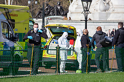 © Licensed to London News Pictures. 16/03/2020. London, UK. Police and medics in masks and protective suits outside Buckingham Palace talk to a man (R). It is not clear if he is being arrested. Government ministers warn that the over 70s could face self-isolation for weeks as the Coronavirus disease pandemic continues . Photo credit: Alex Lentati/LNP