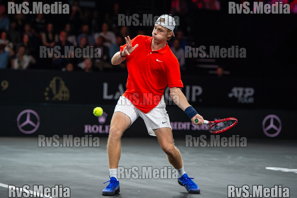 GENEVA, SWITZERLAND - SEPTEMBER 20: Denis Shapovalov of Team World plays a forehand during Day 1 of the Laver Cup 2019 at Palexpo on September 20, 2019 in Geneva, Switzerland. The Laver Cup will see six players from the rest of the World competing against their counterparts from Europe. Team World is captained by John McEnroe and Team Europe is captained by Bjorn Borg. The tournament runs from September 20-22. (Photo by Monika Majer/RvS.Media)