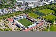 Nederland, Noord-Brabant, Den Bosch, 13-05-2019; Stadion FC Den Bosch, De Vliert, officieel Timmermans Infra Stadion De Vliert. Gelegen op multisportcomplex Sportiom. <br /> FC Den Bosch stadium, De Vliert.<br /> <br /> aerial photo (additional fee required); luchtfoto (toeslag op standard tarieven); copyright foto/photo Siebe Swart