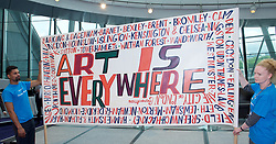 Sadiq Khan, Mayor launches a search for the first ever London Borough of Culture at a ceremony at City Hall, London, Great Britain <br /> 30th June 2017 <br /> <br /> <br /> <br /> <br /> <br /> Bob and Roberta Smith (artist who designed the banner) <br /> <br /> The launch moment was marked by the unfurling of a 4 metre long artwork/banner painted by artist Bob and Roberta Smith especially for the launch.<br /> <br /> <br /> Photograph by Elliott Franks <br /> Image licensed to Elliott Franks Photography Services