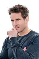 one  man mature handsome thinking pensive portrait studio white background
