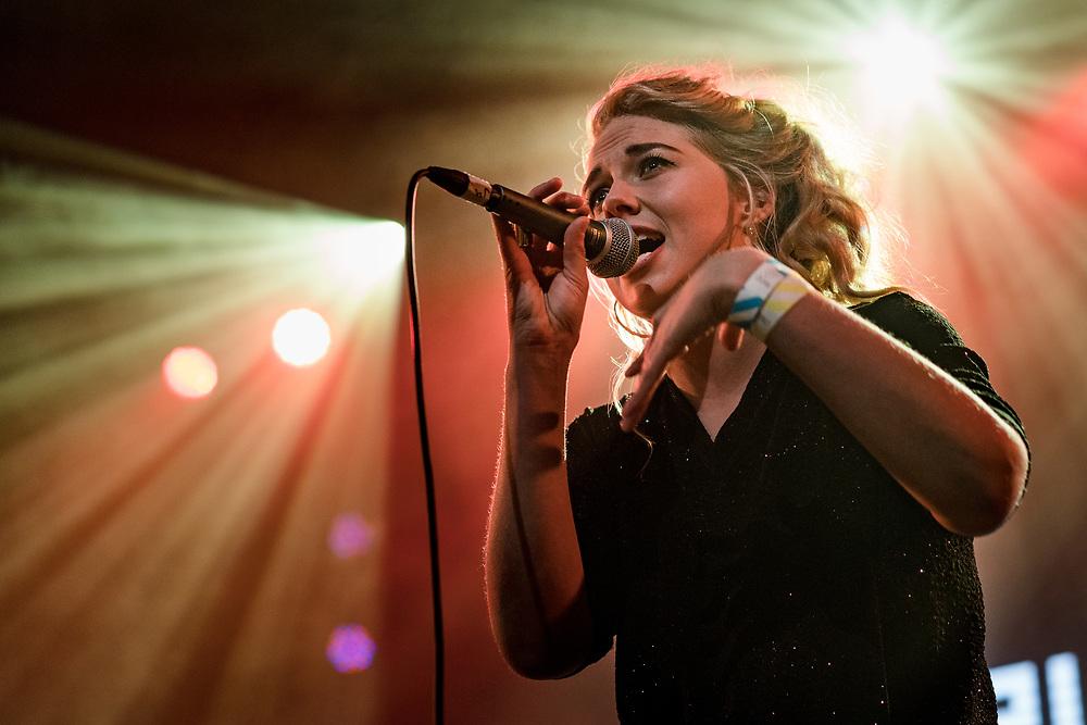 Salka Sól of Icelandic reggae band Amabadama at Iceland Airwaves