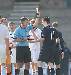 Falkirk's Conor McGrandles booked for diving by ref McKendrick.<br /> Half time : Raith Rovers 1 v 0 Falkirk, Scottish Championship 28/9/2013.<br /> ©Michael Schofield.