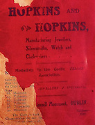 All Ireland Senior Hurling Championship Final,.02.11.1913, 11.02.1913, 2nd November 1913,.Tipperary 1-2,, Kilkenny 2-4,.Senior Tipperary v Kilkenny, .Jones's Road Dublin, ..Advertisements, Hopkins and Hopkins Manufaturing Jewellers Silversmiths Watch and Clockmakers,