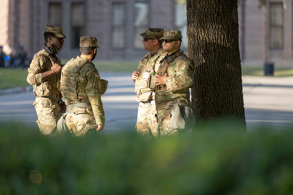 Texas National Guard members start patrols at the Texas Capitol in Austin mid-afternoon on Election Day to assist the Texas Dept. of Public Safety (DPS) in case of any election-related incidents after the polls close Nov. 3rd, 2020.