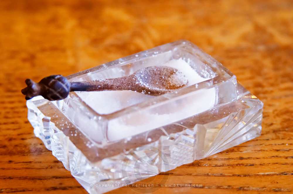 Chateau Rives-Blanques. Limoux. Languedoc. Salt beaker in crystal glass with wooden spoon. France. Europe.