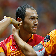 Galatasaray's Umut Bulut celebrating his goal and Kasimpasa's during their Turkish Super League soccer match Galatasaray between Kasimpasa at the TT Arena at Seyrantepe in Istanbul Turkey on Monday 20 August 2012. Photo by TURKPIX