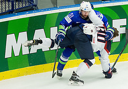 Mitja Robar of Slovenia vs Anders Lee of USA during Ice Hockey match between Slovenia and USA at Day 10 in Group B of 2015 IIHF World Championship, on May 10, 2015 in CEZ Arena, Ostrava, Czech Republic. Photo by Vid Ponikvar / Sportida
