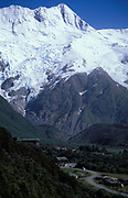 Mount Cook and Village, New Zealand, valley and snow capped mountains