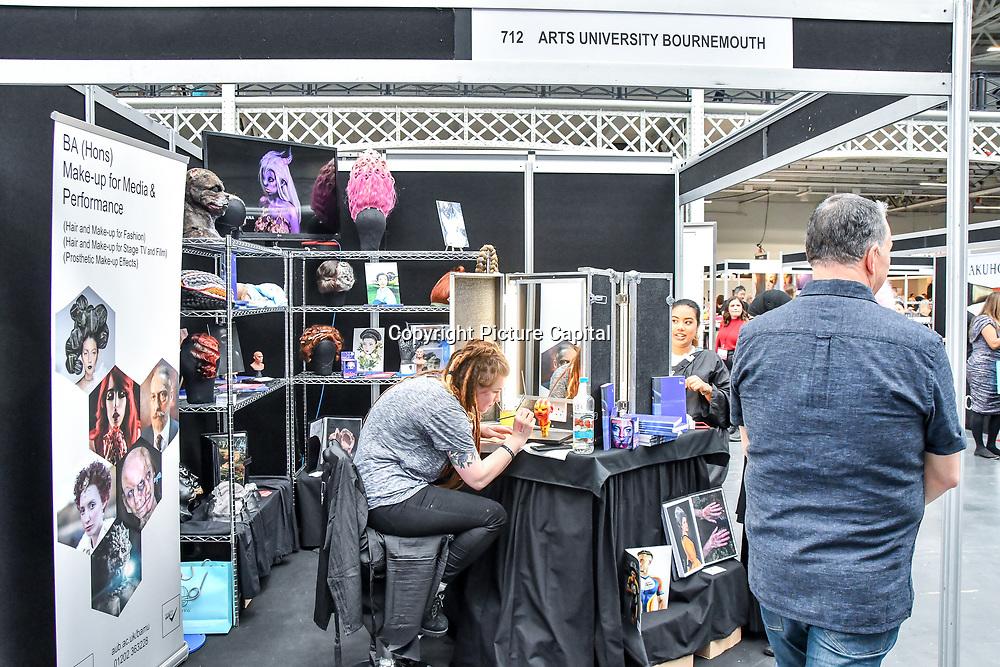 Arts University Bournemouth demo at IMATS London on 18 May 2019,  London, UK.