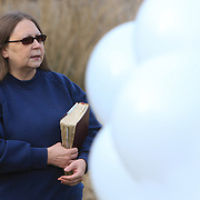 Patricia Rongotes, sister of Randy Hockabout speaks at  a ceremony to remember her brother's life at Optimist Park, where his body was found on January 25, 1986. The homicide has remained unsolved and Hockabout's family have launched new efforts to solve the crime including using facebook to find leads. (Jason A. Frizzelle)