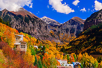 View of Telluride in autumn, climbing 13,114 foot (3997 meter) Imogene Pass, San Juan Mountains, southwest Colorado USA.