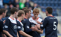 Falkirk's Rory Loy celebrates after scoring their first goal.<br /> Falkirk 2 v 1 Queen of the South, Scottish Championship 5/10/2013, played at The Falkirk Stadium.<br /> ©Michael Schofield.