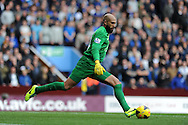 Everton goalkeeper Tim Howard  in action. Barclays Premier League, Aston Villa v Everton at Villa Park in Aston, Birmingham on Saturday 26th Oct 2013. pic by Andrew Orchard, Andrew Orchard sports photography,