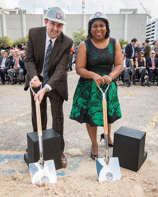 Dr. Scott Allen, left, and Houston ISD trustee Paula Harris, right, during a groundbreaking ceremony for the new High School for Performing and Visual Arts in downtown Houston, December 14, 2014.