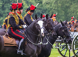 Hyde Park, London, June 2nd 2016. Soldiers and guns of the King's Troop Royal Horse Artillery fire a 41 round Royal Salute to mark the 63rd anniversary of the coronation of Britain's Monarch HM Queen Elizabeth II. PICTURED: Mounted troops prepare to tow away the guns.