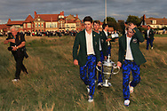 Team USA winners of the Walker Cup at the Award ceremony of the Walker Cup at Royal Liverpool Golf CLub, Hoylake, Cheshire, England. 08/09/2019.<br /> Picture Thos Caffrey / Golffile.ie<br /> <br /> All photo usage must carry mandatory copyright credit (© Golffile   Thos Caffrey)