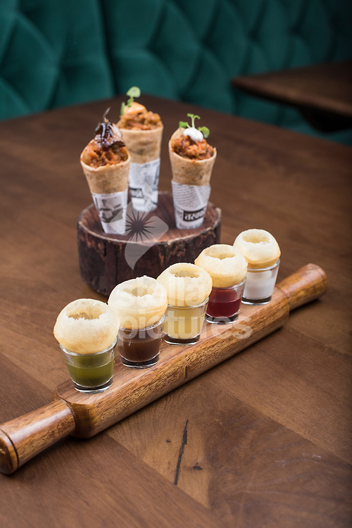 Puchkas, five waters with mathrio trio: smoked aubergine bharta, duck khurchan, methi murgh at Indian Accent restaurant, Mayfair.<br /> Picture by Daniel Hambury/Stella Pictures Ltd 07813022858<br /> 05/01/2018