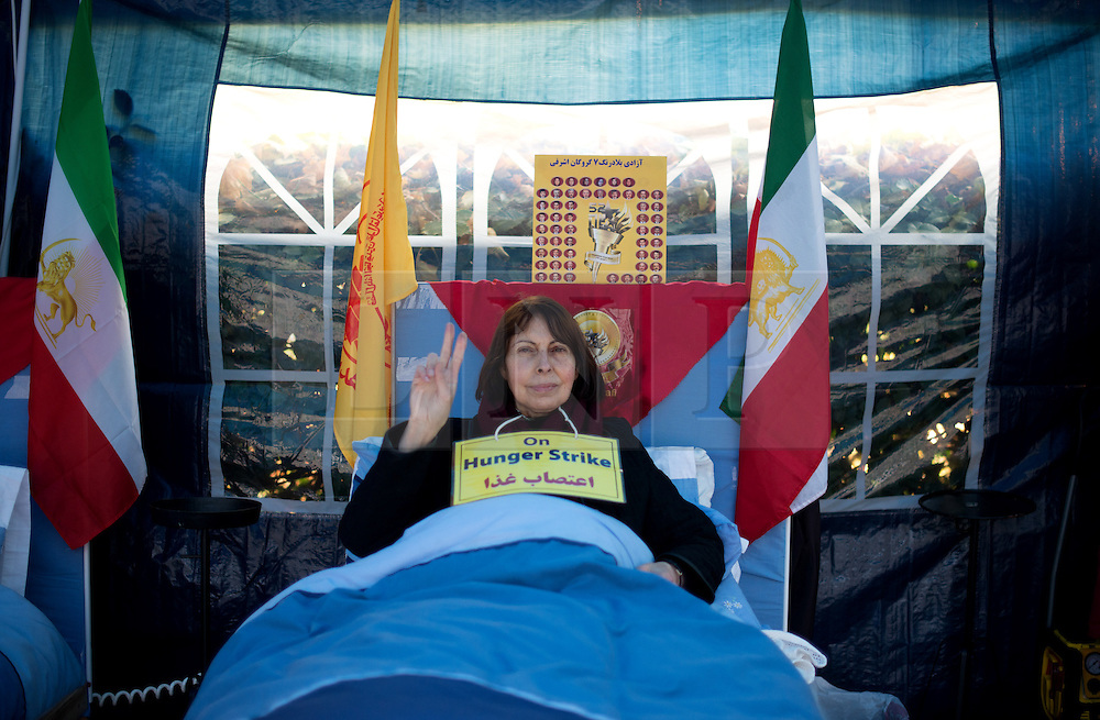© Licensed to London News Pictures.15/11/2013. London, UK. A member of a hunger striker group camped outside the US embassy in London in protest at violence in Iraq.They began the fast in September after 52 exiled Iranians were killed in a raid by Iraqi security forces and will continue to refuse meals unless the United States gives protection to remaining occupants of Camp Ashraf.Photo credit : Peter Kollanyi/LNP