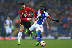 19th February 2017 - FA Cup - 5th Round - Blackburn Rovers v Manchester United - Marcos Rojo of Man Utd battles with Marvin Emnes of Blackburn - Photo: Simon Stacpoole / Offside.