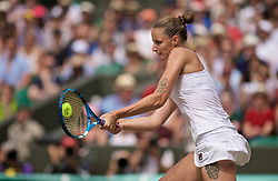 LONDON, ENGLAND - Friday, July 5, 2019: Karolina Pliskova (CZE) during the Ladies' Singles third round match on Day Five of The Championships Wimbledon 2019 at the All England Lawn Tennis and Croquet Club. Pliskova won 6-3, 2-6, 6-4. (Pic by Kirsten Holst/Propaganda)