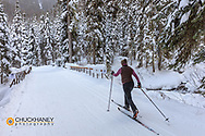 Cross country skiing at the Izaak Walton Historical Inn in Essex, Montana MR