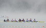 Aiguebelette, FRANCE, GBR M8+, Training in the misty Condition at the 2015 FISA World Rowing Championships, Venue, Lake Aiguebelette - Savoie. <br /> <br /> Friday  04/09/2015  [Mandatory Credit. Peter SPURRIER/Intersport Images]. © Peter SPURRIER, Atmospheric, Rowing