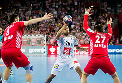Nicolas Claire of France vs Ivan Cupic of Croatia during handball match between National teams of Croatia and France on Day 7 in Main Round of Men's EHF EURO 2018, on January 24, 2018 in Arena Zagreb, Zagreb, Croatia.  Photo by Vid Ponikvar / Sportida