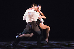 """© Licensed to London News Pictures. 09/06/2015. London, UK. Pictured: German 'Nikito' Cornejo and Gisela Galeassi performing. Sidi Larbi Cherkaoui's contemporary tango production """"Milonga"""" returns to Sadler's Wells from 9 to 13 June 2015. Photo credit : Bettina Strenske/LNP"""