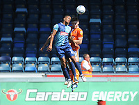 Blackpool's Oliver Turton vies for possession with Wycombe Wanderers' Paris Cowan-Hall<br /> <br /> Photographer Kevin Barnes/CameraSport<br /> <br /> The EFL Sky Bet League One - Wycombe Wanderers v Blackpool - Saturday 4th August 2018 - Adams Park - Wycombe<br /> <br /> World Copyright © 2018 CameraSport. All rights reserved. 43 Linden Ave. Countesthorpe. Leicester. England. LE8 5PG - Tel: +44 (0) 116 277 4147 - admin@camerasport.com - www.camerasport.com