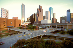Houston, Texas skyline and theatre district from the north western side featuring The Wortham Center at dusk.
