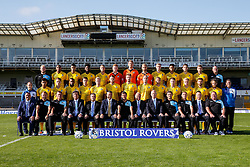 First Team Photo in Away Kit with additional personnel and sponsors - Mandatory byline: Rogan Thomson/JMP - 07966 386802 - 07/09/2015 - FOOTBALL - Memorial Stadium - Bristol, England - Bristol Rovers Team Photos.
