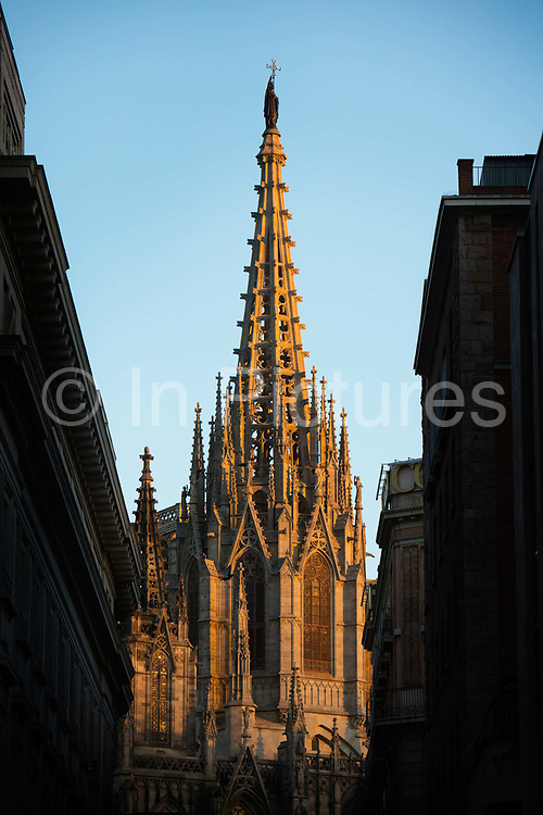 Barcelona Cathedral, the Cathedral of the Holy Cross and Saint Eulalia Barcelona, Spain seen from Pla de la Seu.