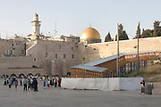 wailing wall and dome of the rock mosque in Jerusalem, Israel