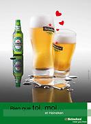 Image publicitaire réalisée en studio de 2 verres de bière pour la Saint Valentin en Nouvelle Calédonie.