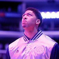 07 December 2014: New Orleans Pelicans forward Anthony Davis (23) is seen during the national anthem prior to the New Orleans Pelicans 104-87 victory over the Los Angeles Lakers, at the Staples Center, Los Angeles, California, USA.