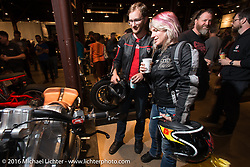 Checking out the Confederate Motorcycles Combat 61 at the Friday night grand opening of the Handbuilt Motorcycle Show. Austin, TX, USA. April 8, 2016.  Photography ©2016 Michael Lichter.