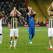 Fenerbahce's players celebrate victory during their Turkish superleague soccer match Fenerbahce between Eskisehirspor at Sukru Saracaoglu stadium in Istanbul Turkey on Sunday 14 April 2013. Photo by Aykut AKICI/TURKPIX