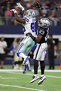 Dallas Cowboys rookie wide receiver Noah Brown (85) leaps while trying to catch a third quarter pass broken up by Oakland Raiders cornerback Dexter McDonald (23)during the 2017 NFL week 3 preseason football game against the Oakland Raiders, Saturday, Aug. 26, 2017 in Arlington, Tex. The Cowboys won the game 24-20. (©Paul Anthony Spinelli)