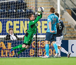 Falkirk's keeper Michael McGovern.<br /> Falkirk 2 v 1 Dunfermline, Scottish League Cup, 27/8/2013, at The Falkirk Stadium.<br /> ©Michael Schofield.